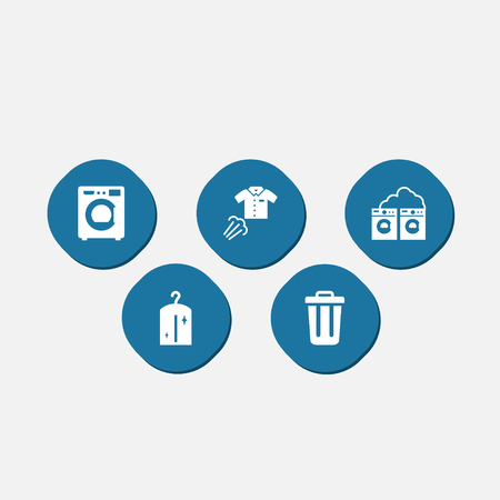 laundry care symbol: Collection of washhouse, clothes, ironing and other elements.