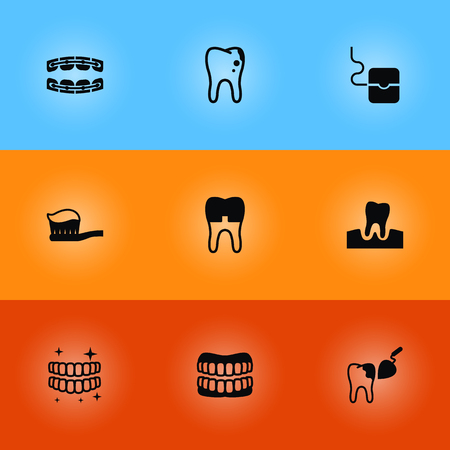 Collection of stabilize, halitosis, gingivitis and other elements.