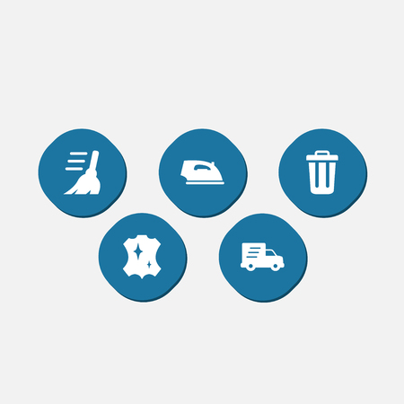 Collection of shipping, iron, garbage container and other elements.