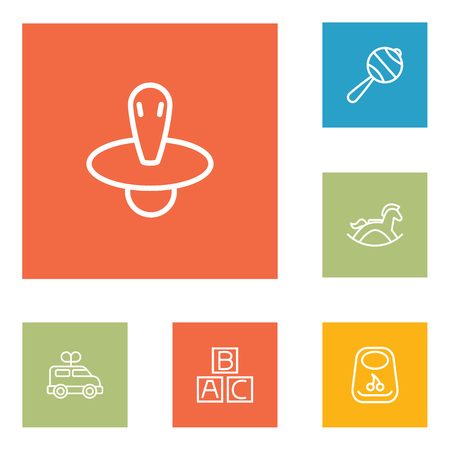 Set Of 6 Child Outline Icons Set.Collection Of Bib, Rattles, Rocking Horse And Other Elements.
