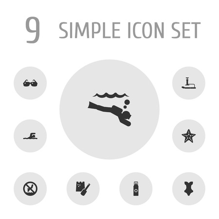 Set Of 9 Beach Icons Set.Collection Of Game, Swimwear, Sunscreen And Other Elements.