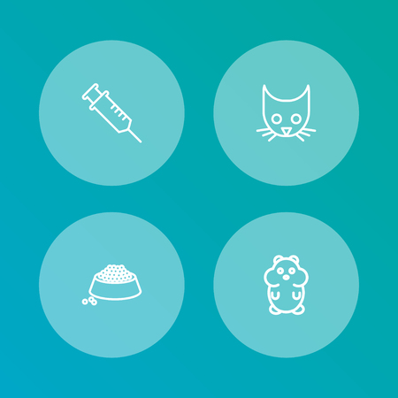 Set Of 4 Animals Outline Icons Set.Collection Of Hamster, Puppy, Vaccination And Other Elements. Illustration