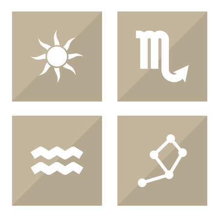 Set Of 4 Astronomy Icons Set.Collection Of Zodiac Sign, Horoscope, Solar And Other Elements.