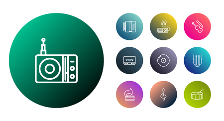 Set Of 10 Melody Outline Icons Set.Collection Of Percussion, Vinyl, Turntable And Other Elements.