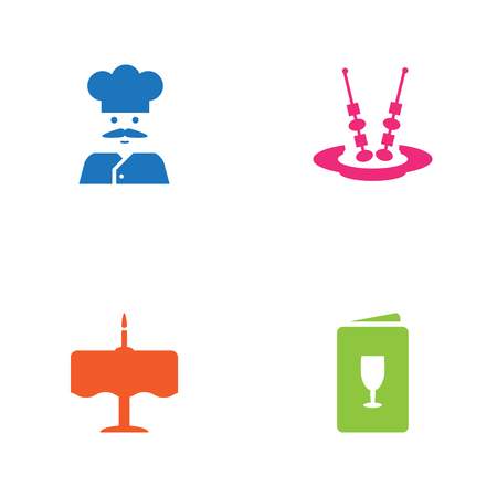 Set Of 4 Bar Icons Set.Collection Of Dinner Desk, Cook, Canape And Other Elements.