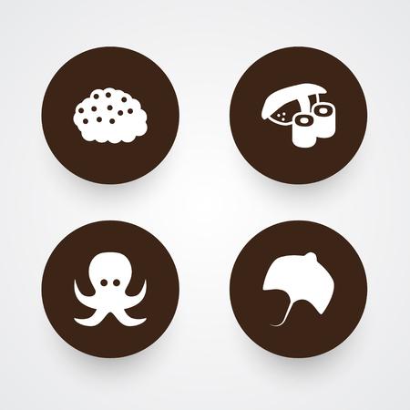 Set Of 4 Seafood Icons Set.Collection Of Roe, Stingray, Devilfish And Other Elements. Illusztráció