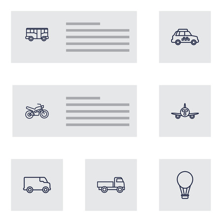 Set Of 7 Shipping Outline Icons Set.Collection Of Truck, Taxi, Bus And Other Elements.