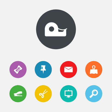 Set Of 9 Instruments Icons Set.Collection Of Mail, Paper  Clamp, Whiteboard And Other Elements.