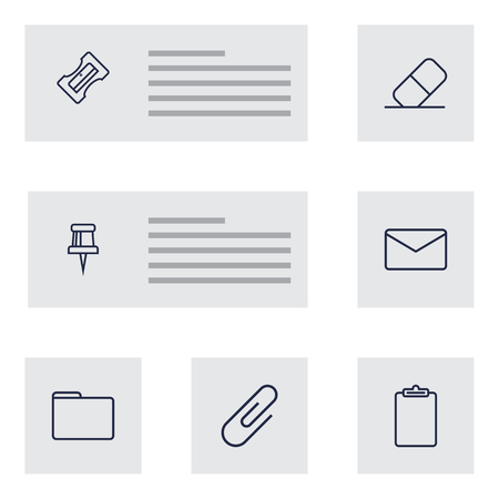 Set Of 7 Stationery Outline Icons Set.Collection Of Pushpin, Clipboard, Mail And Other Elements. Illustration
