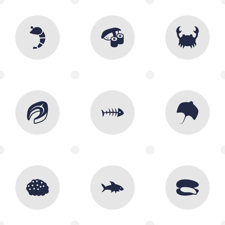 Set Of 9 Sea Icons Set.Collection Of Stingray, Crustaceans, Lobster And Other Elements. Illustration