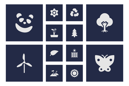 Set Of 12 Natural Icons Set.Collection Of Moth, Tree, Pinnacle And Other Elements.