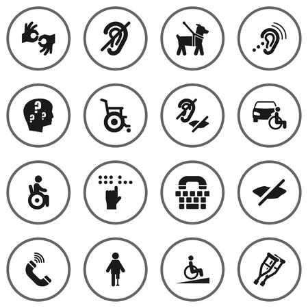 Conjunto de 16 iconos de accesibilidad establecidos. Colección de acceso universal, mascotas, Tty y otros elementos.