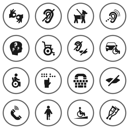 Set Of 16 Accessibility Icons Set.Collection Of Universal Access, Pet, Tty And Other Elements. Ilustração