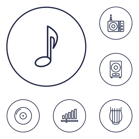 Set Of 6 Song Outline Icons Set.Collection Of Audio Level, Station, Gramophone And Other Elements.