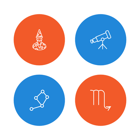 Set Of 4 Astronomy Outline Icons Set.Collection Of Constellation, Telescope, Astrologer And Other Elements. Stock Vector - 88216920