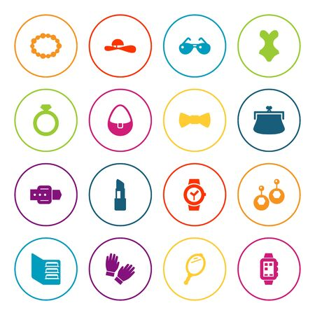 Set Of 16 Accessories Icons Set.Collection Of Pomade, Beachwear, Purse And Other Elements. Illustration