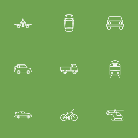 Set Of 9 Shipping Outline Icons Set.Collection Of Suv, Truck, Bike And Other Elements.