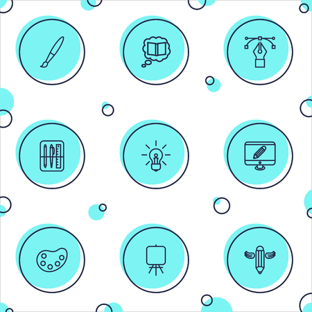 Set Of 9 Constructive Outline Icons Set.Collection Of Idea, Bezier Curve, Drawing Tools And Other Elements.