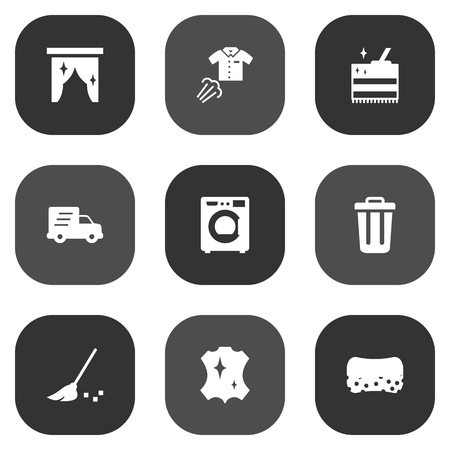 Set Of 9 Cleaning Icons Set.Collection Of Skin, Garbage Container, Wisp And Other Elements.