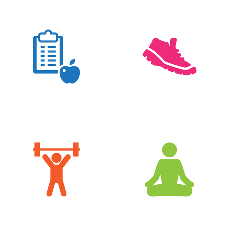 Set Of 4 Training Icons Set.Collection Of Regime, Meditate, Weightlifting And Other Elements. Illustration