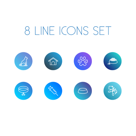 Set Of 8 Animals Outline Icons Set.Collection Of Puppy, Grooming, Bowl And Other Elements.