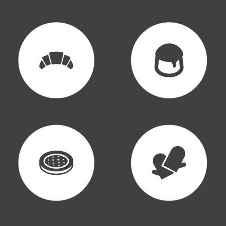 4 생 과자 아이콘 설정 Potholders, 디저트, 케이크 및 기타 요소의 집합입니다.