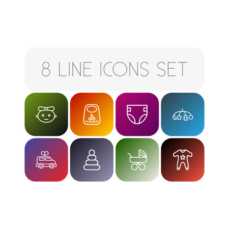 Set Of 8 Baby Outline Icons Set.Collection Of Diaper, Clockwork Car, Carriage And Other Elements.
