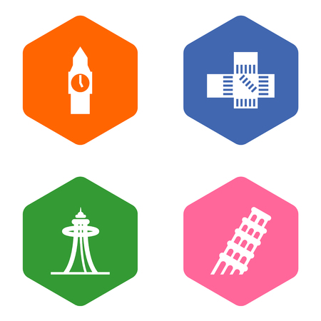 Set Of 4 Monument Icons Set.Collection Of Japan, London, Pisa And Other Elements.