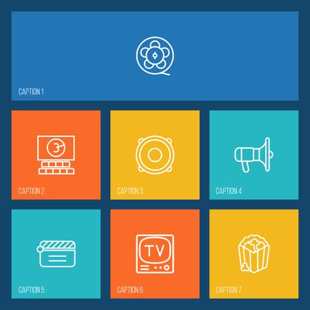 Set van 7 plezier overzicht iconen Set. Collectie van bioscoop, Clapperboard, filmrol en andere elementen.
