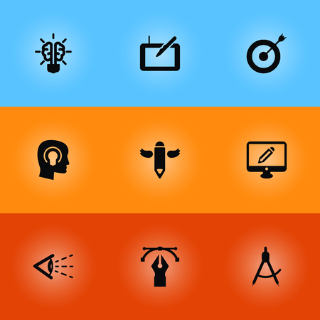 Set Of 9 Constructive Icons Set.Collection Of Gadget, Look, Compass And Other Elements.