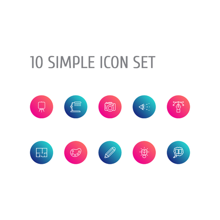 Set Of 10 Constructive Outline Icons Set.Collection Of Property Plan, Palette, Pencil And Other Elements.