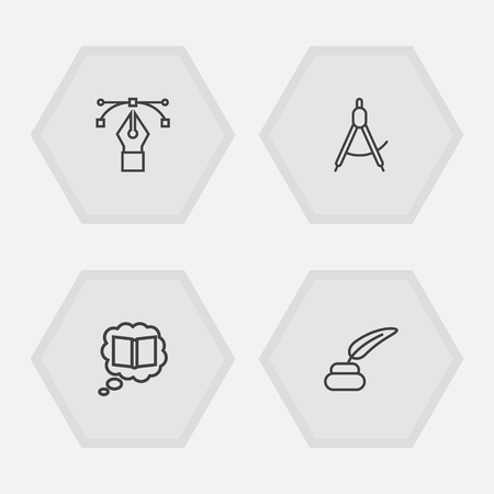 Set Of 4 Constructive Outline Icons Set.Collection Of Bezier Curve, Inkwell With Pen, Knowledge And Other Elements.