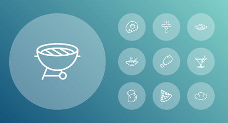 Set Of 10 Food Outline Icons Set.Collection Of Beer, Sausage, Pasta And Other Elements.