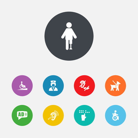 Set Of 9 Accessibility Icons Set.Collection Of Pet, Assistance, Listening Device And Other Elements. Иллюстрация