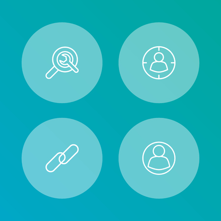 Set Of 4 Search Outline Icons Set.Collection Of Targeting, Guest, Wrench And Other Elements. Illusztráció