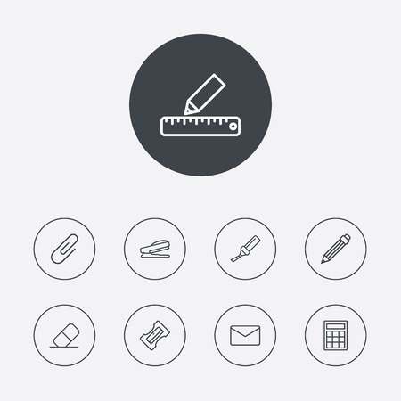 stapled: Set Of 9 Tools Outline Icons Set.Collection Of Calculator, Puncher, Mail And Other Elements.