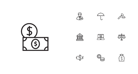 Set Of 10 Budget Outline Icons Set.Collection Of Dollar, Bank, Justice And Other Elements.