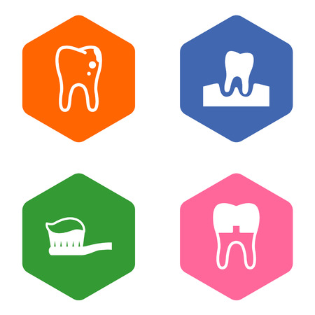 Set Of 4 Dentist Icons Set.Collection Of Dental Crown, Gingivitis, Toothpaste And Other Elements.