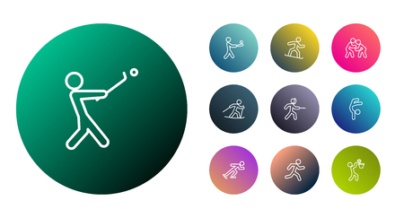 Set Of 10 Athletic Outline Icons Set.Collection Of Batting, Ice Skating, Run And Other Elements.