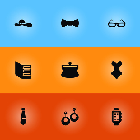Set Of 9 Decorating Icons Set.Collection Of Beachwear, Smart Watch, Sunglasses And Other Elements. Illustration