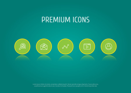 Set Of 5 Optimization Outline Icons Set.Collection Of Advertising, Video Marketing, Guest And Other Elements.