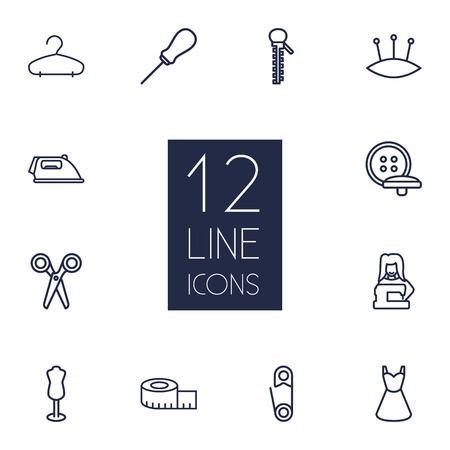 Set Of 12 Tailor Outline Icons Set.Collection Of Zipper, Awl, Buttons And Other Elements.