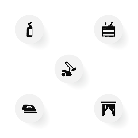 Set Of 5 Cleaning Icons Set.Collection Of Curtain, Hoover, Iron And Other Elements. Illustration