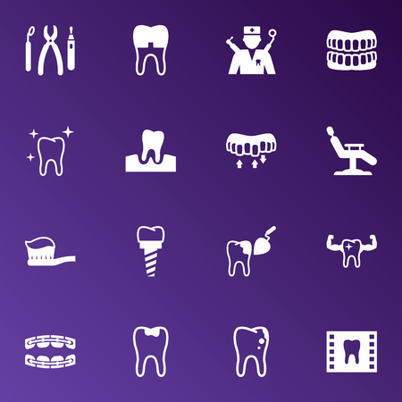 Set Of 16 Teeth Icons Set.Collection Of Brace, Roentgen, Stabilize And Other Elements.