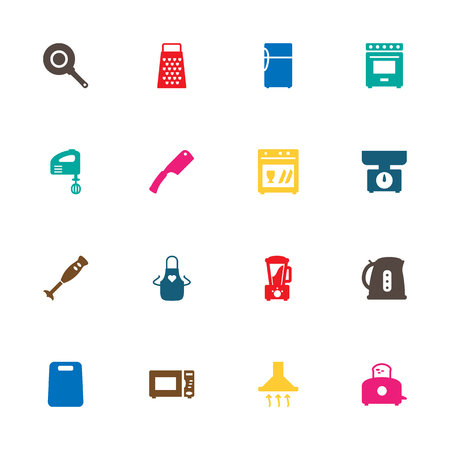 Set Of 16 Culinary Icons Set.Collection Of Blender, Refrigerator, Kitchen Ax And Other Elements. Illustration