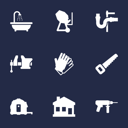 Set Of 9 Architecture Icons Set.Collection Of Clamp, Bathroom, Electric Screwdriver And Other Elements.