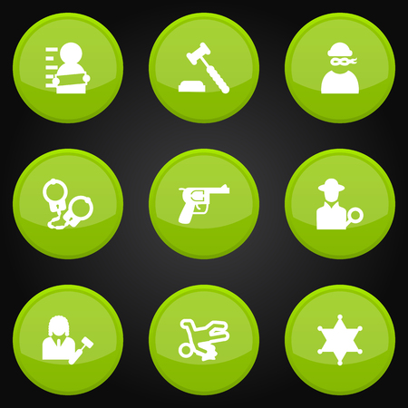 Set Of 9 Criminal Icons Set.Collection Of Victim, Inspector, Suspicious And Other Elements. Illustration