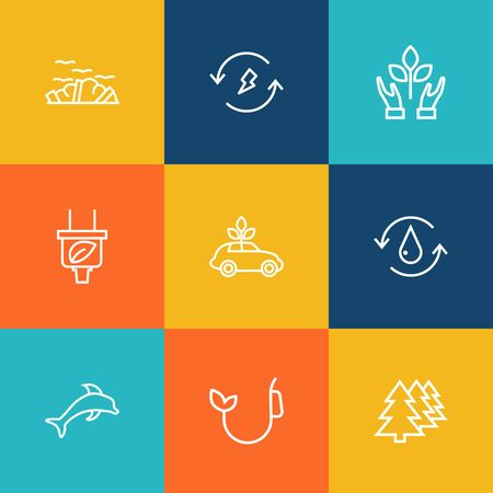 Set Of 9 Atmosphere Outline Icons Set.Collection Of Nature, Fuel, Water And Other Elements.