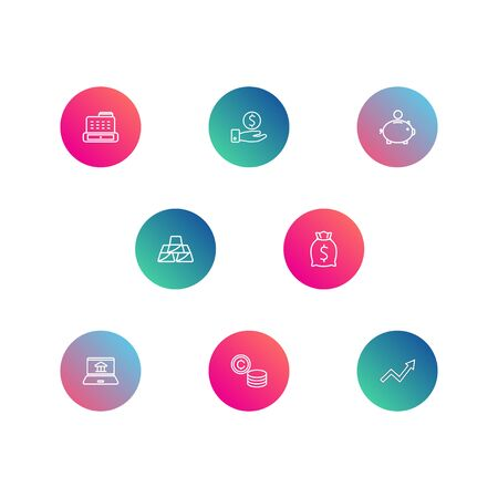 Set Of 8 Budget Outline Icons Set.Collection Of Golden Bars, Grow Up, Cash Register And Other Elements. Иллюстрация