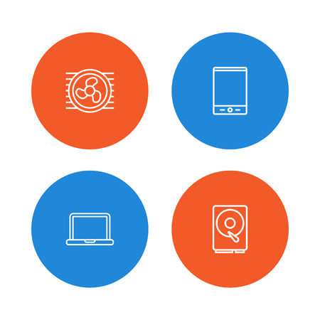 Set Of 4 Computer Outline Icons Set.Collection Of Notebook, Hdd, Cooler And Other Elements.